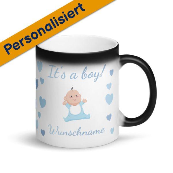 MagischeTasse | Zaubertasse Babyparty: It's a boy! Baby-Motiv mit Name | Gender Reveal Tasse Junge Babyparty