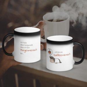 MagischeTasse | Lustige Zaubertasse mit Spruch: Morgenmensch & Kaffeemensch