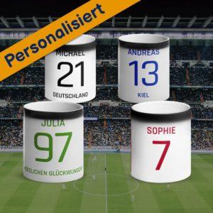 MagischeTasse | Personalisierte Zaubertasse Fußball Trikot: Mit Name & Rückennummer