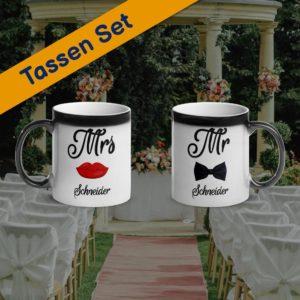 MagischeTasse | Zaubertassen-Set zur Hochzeit: Mr & Mrs mit Namen