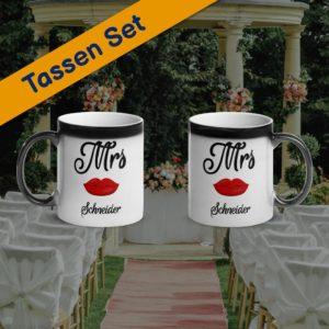 MagischeTasse | Zaubertassen-Set zur Hochzeit: Mrs & Mrs mit Namen