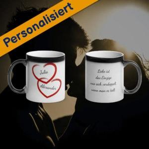 MagischeTasse | Personalisierte Zaubertasse für Paare: Mit Herzen, Namen & Wunschtext