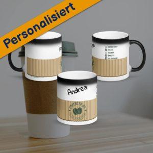 MagischeTasse | Zaubertasse im Coffee-to-go Design mit Namen & Zubereitung