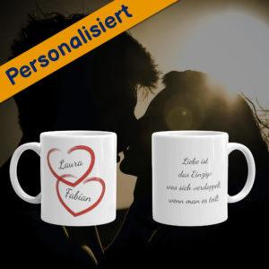 MagischeTasse | Tasse für Paare: Mit Herzen, Namen & Wunschtext
